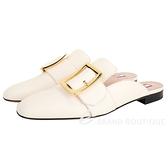 BALLY JANESSE 金色方釦小牛皮穆勒鞋(米白色) 1940527-03