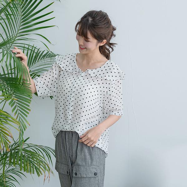 【慢。生活】荷葉領波點薄款襯衫 327 FREE白色