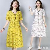 中大尺碼短袖洋裝 女裝韓版寬鬆棉麻連身裙中長款a字裙復古碎花裙 EY4495 『東京衣社』
