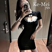 克妹Ke-Mei【AT65219】DEVIAL辛辣夜店心機摟空低胸改良式旗袍洋裝
