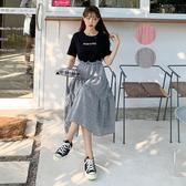 連身裙 假兩件印花格紋短袖洋裝JM10256-創翊韓都