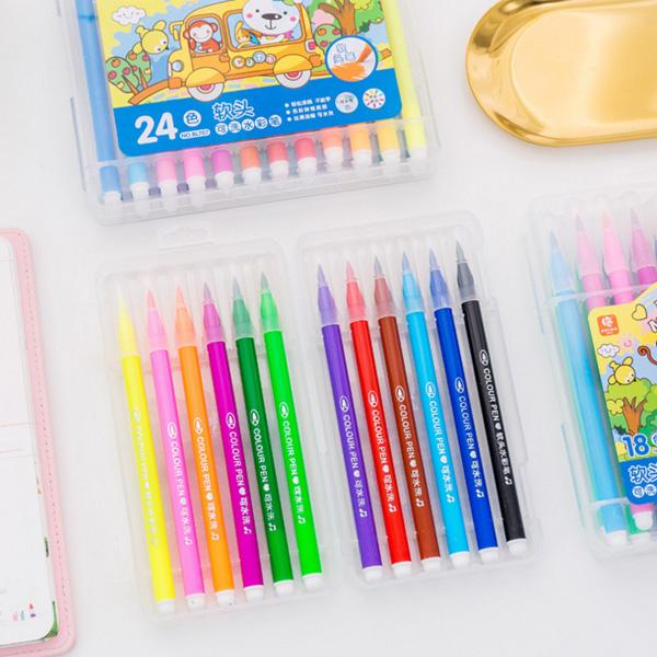 【BlueCat】塗鴉畫畫12色軟頭盒裝水洗水彩筆