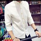 【春季優惠款任搭2件888】最新款日韓新品經典純色亞麻7分袖襯衫