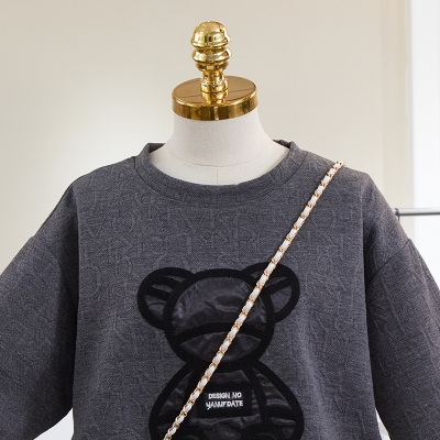 加大尺碼上衣T恤女2104#100%聚酯纖維夏季新款小熊圖案圓領短袖T恤女H500依佳衣