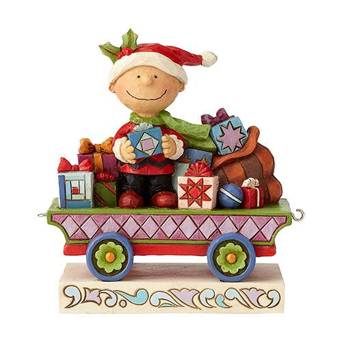 《Enesco精品雕塑》SNOOPY 查理布朗聖誕列車塑像-All Wrapped Up(Peanuts by Jim Shore)_EN96027