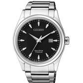 CITIZEN 星辰 光動能鈦金屬藍寶石鏡面腕錶  BM7360-82E  黑X銀