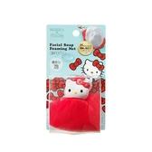 小禮堂 Hello Kitty 肥皂網袋 肥皂海綿 沐浴澡巾 搓澡巾 (紅白 大臉) 4976404-17161