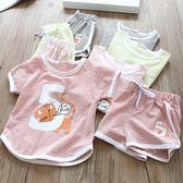 【全館】現折200夏季新款女童百搭條紋套裝寶寶可愛印花短袖兒童休閒兩件套潮