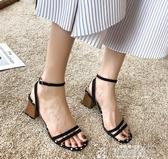 鞋子女新款涼夏季新款韓版學生百搭一字帶羅馬涼鞋粗跟高跟鞋聖誕交換禮物