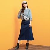 秋裝上市[H2O]後綁繩設計牛仔長裙 - 藍/淺藍色 #0652007