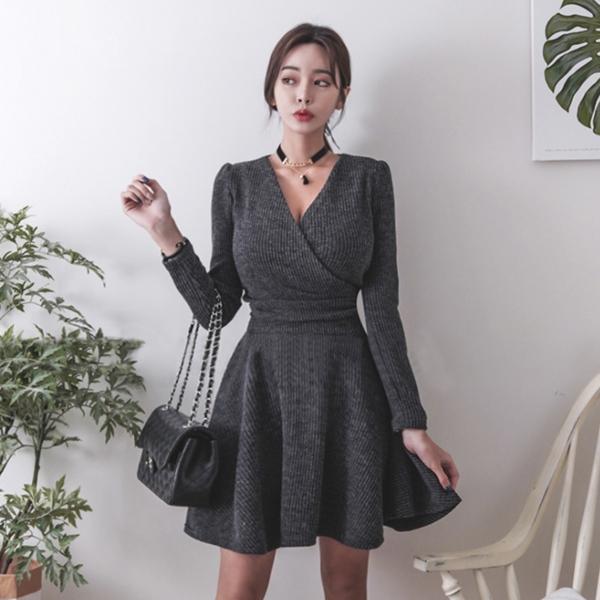 Qmigirl V領長袖針織連衣裙蝴蝶結系帶短款 連身裙 洋裝【WT1181】