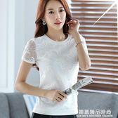 2017夏季韓版短袖網紗拼接蕾絲衫女士修身T恤半袖學生雪紡衫上衣