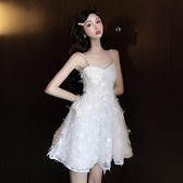 格格家 夏季刺绣重工buling闪闪法式珍珠性感吊带超仙美的洋裝