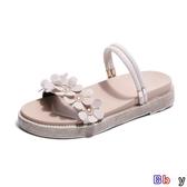 【貝貝】露趾涼鞋 鞋子復古涼鞋女夏季韓版平底百搭軟妹兩穿沙灘鞋