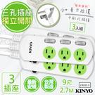 【KINYO】9呎2.7M 3P3開3插安全延長線(CW333-9)3入