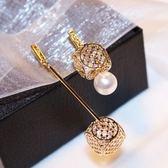 耳環 玫瑰金純銀珍珠-幾何方形生日情人節禮物女飾品73ca155[時尚巴黎]
