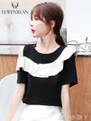 黑色短袖t恤女夏裝2021年新款一字肩露肩上衣女寬松夏季短款衣服 蘿莉新品