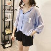 氣質襯衫--慵懶夏日氣息柳葉皺褶紗五分寬袖方領V型開襟上衣(藍XL-5L)-I85眼圈熊中大尺碼