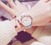 女式手錶 手錶女學生韓版簡約潮流ulzzang時尚休閒百搭皮帶漸變色石英女錶 俏腳丫
