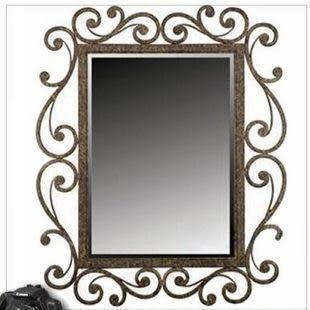 鐵藝鏡子 化妝鏡 臥室鏡 試衣鏡 浴室鏡 玄關鏡