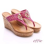 effie 摩登美型 真皮鏤空大釦飾Y字楔型拖鞋  桃粉紅