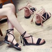 韓國低跟涼鞋女夏交叉綁帶蝴蝶結羅馬學生百搭平底仙女鞋 概念3C旗艦店