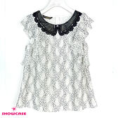 【SHOWCASE】可愛蕾絲荷葉繡花無袖上衣(白)