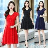 雪紡洋裝 紅色波點雪紡連身裙2021夏季新款35-45歲收腰顯瘦v領短袖氣質裙子 【618 大促】