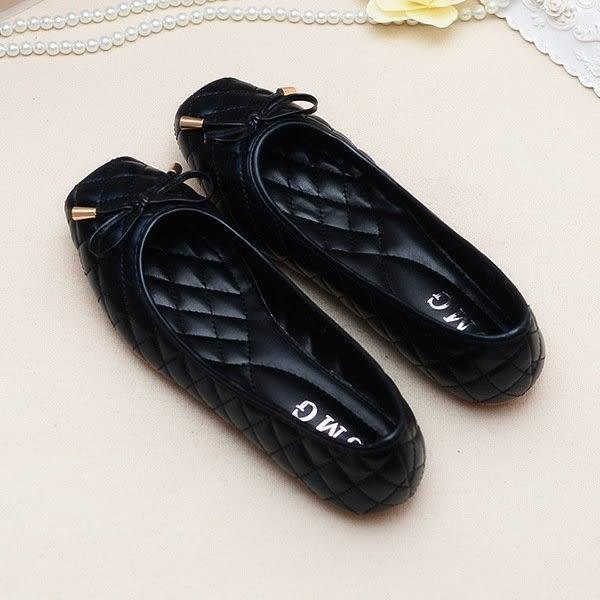 大尺碼女鞋小尺碼女鞋菱格車線簡約素面舒適方頭豆豆底娃娃鞋平底鞋黑色(35-41)