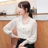 蕾絲上衣 8617#秋季新款韓版雪紡衫蕾絲流蘇氣質V領百搭上衣NA53紅粉佳人