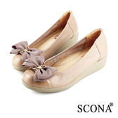 SCONA 全真皮 舒適輕量厚底鞋 淺可可色 22337-2
