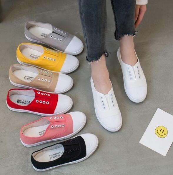 春季新款白色帆布鞋女一腳蹬懶人鞋平底小白鞋學生韓版百搭休閒鞋    (pink Q 時尚女裝)