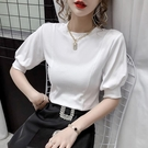燈籠袖上衣 夏季新款白色短袖t恤女修身顯瘦設計感燈籠袖短款上衣-Ballet朵朵