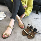 涼鞋.鑲珠波紋楔型涼鞋【K188-6】黑色 / 杏色
