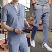 亞麻套裝男中國風棉麻短袖t恤半袖大碼復古休閒長褲兩件套裝 魔法街