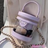 小圓包上新ins超火透明小包包女2021新款韓版手提側背小圓包鍊條斜背包 JUST M