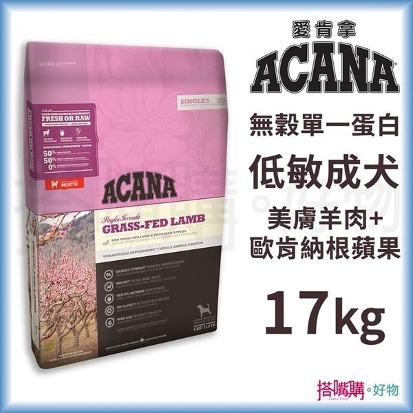 ACANA愛肯拿『 無穀單一蛋白低敏 美膚(羊肉+蘋果)』17kg【搭嘴購】