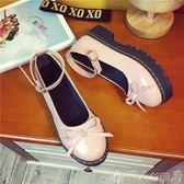 聖誕禮物娃娃鞋百搭女平底單鞋18日系軟妹洛麗塔鬆糕厚底小皮鞋娃娃鞋 潮人女鞋