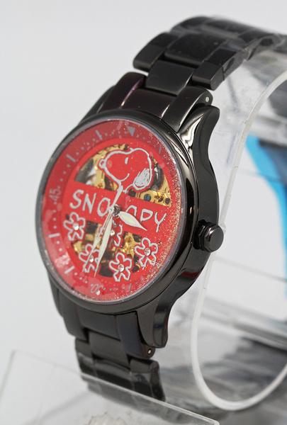 【卡漫城】 出清 史奴比 自動 機械錶 紅底花 ㊣版 手錶 史努比 女錶 Snoopy 不鏽鋼 藍寶石 水晶鏡面