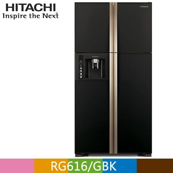 【南紡購物中心】HITACHI 日立 594公升大四門變頻冰箱RG616 琉璃黑(GBK)