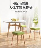 已加 北歐餐椅家用實木餐凳子現代化妝書桌簡約休閒鐵藝小椅子靠背吧台 ATF 夏季新品