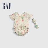 Gap嬰兒 清新荷葉邊短袖套裝 681799-白色印花