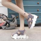 新款休閑松糕跟防水臺坡跟厚底魚嘴涼鞋中跟女鞋-奇幻樂園