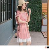 《DA5435》素色反褶短袖抽繩收腰拼接飄逸裙擺洋裝 OrangeBear