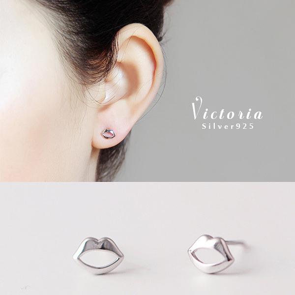 S925純銀  浪漫風格,優雅性感歐美光面嘴唇經典時尚耳環-維多利亞161294