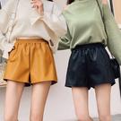 2019秋冬季新款高腰顯瘦時尚皮短褲女秋款外穿a字寬鬆闊腿潮皮褲