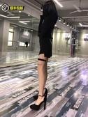 厚底高跟鞋小清新一字扣防水臺高跟鞋少女新款尖頭百搭黑色模特走秀10cm粗跟 貝芙莉