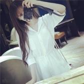 襯衫裙 夏季性感雪紡睡裙女襯衫短袖短裙襯衣領開衫睡衣寬鬆可外穿家居服 交換禮物