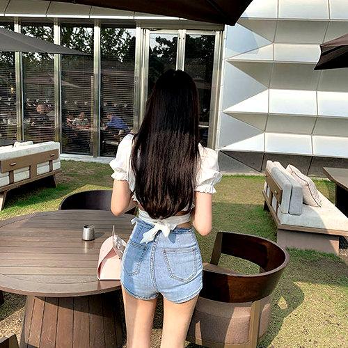 克妹Ke-Mei【AT61550】OKMA仙派女神系荷葉美胸綁帶上衣
