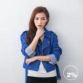 【2%】 大翻領丹寧騎士外套-藍